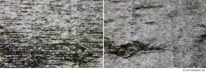 Nori-Blatt, Verleich der rauhen Rückseite und der glatten Vorderseite