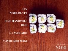 nori blaetter fertige maki futo maki avocado sushi selber machen vegan kalorienarm natriumarm glutenfrei lactosefrei ei-frei cholesterinfrei
