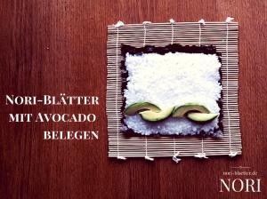 nori blaetter mit avocado belegen futo maki avocado sushi selber machen vegan kalorienarm natriumarm glutenfrei lactosefrei ei-frei cholesterinfrei