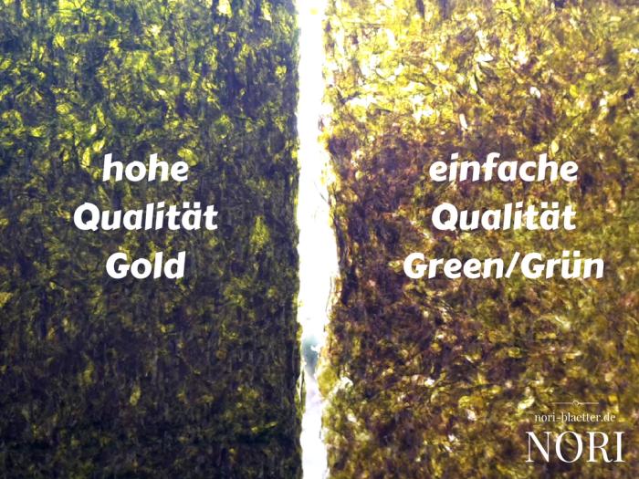 nori blaetter qualitaetsunterschiede gold silver green gold silber gruen sushi selber machen vegan kalorienarm natriumarm glutenfrei lactosefrei ei-frei cholesterinfrei