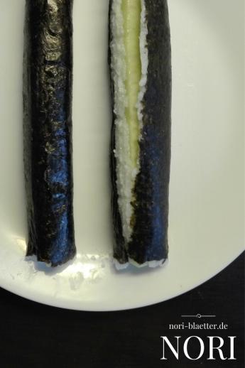 Nori Blätter Algen Maki Rolle richtig und falsch Sushi Rolle